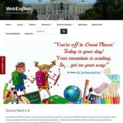 A theme page with elementary level lesson plans for school start