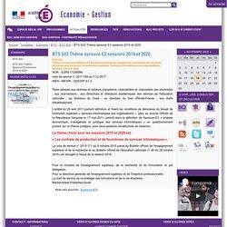 BTS SIO Thème épreuve E3 sessions 2019 et 2020