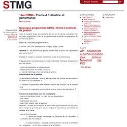 Thème 4 Evaluation et performance - stmg