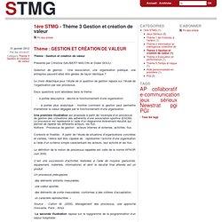 Thème 3 Gestion et création de valeur - stmg