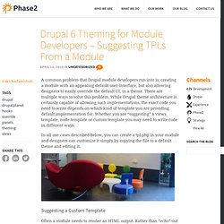 Drupal 6 Theming for Module Developers - Suggesting TPLs From a Module