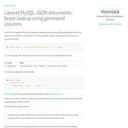 themsaid - Laravel/MySQL JSON documents faster lookup using generated columns
