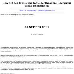 «La nef des fous», une fable de Theodore Kaczynski (alias Unabomber)