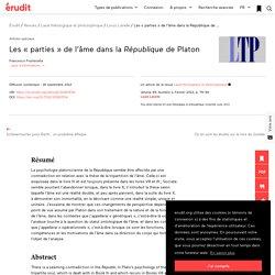 Les «parties» de l'âme dans la République de Pl… – Laval théologique et phi...