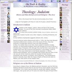 Theology: Judaism. History, Beliefs of Jewish Religion / Jews