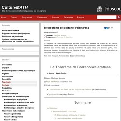 Le théorème de Bolzano-Weierstrass