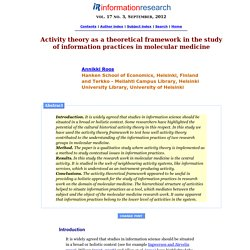 Activity theory as a theoretical framework in the study of information practices in molecular medicine