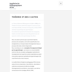 Théorie IP des 3 Actes – Ingénierie Pédagogique IP3A