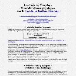 Les Lois de Murphy : Théories physique sur la Tartine beurrée