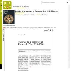 Théories de la sculpture en Europe de l'Est, 1910-1920