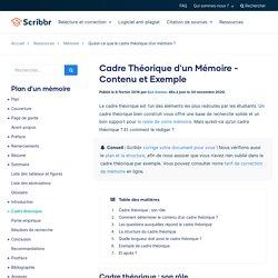 Cadre Théorique d'un Mémoire - Contenu et Exemple