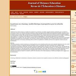 La présence en e-learning - A. Jézégou 2012