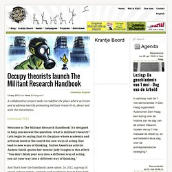 OccupyTheorists launch The Militant Research Handbook