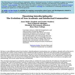 Theorizing Interdisciplinarity