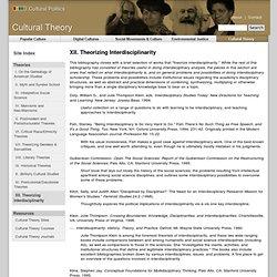 XII. Theorizing Interdisciplinarity