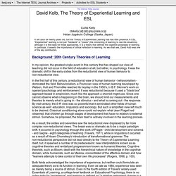 Kelly - David Kolb, The Theory of Experiential Learning and ESL