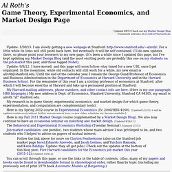Al Roth's game theory, experimental economics, and market design