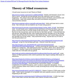 Autism Information -Theory of Mind resources