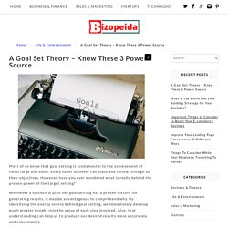 A Goal Set Theory – Know These 3 Power Source