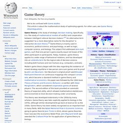wikipedia - Game theory
