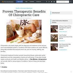 Proven Therapeutic Benefits Of Chiropractic Care