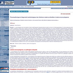 JOHN LIBBEY JAN/FEV 99 Physiopathologie et diagnostic bactériologique des infections materno-infantiles à Listeria monocytogenes