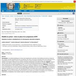 Diabète en prison : établissement d'un programme d'ETP