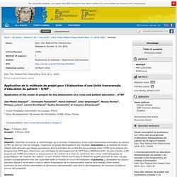 Application de la méthode de projet pour l'élaboration d'une Unité transversale d'éducation du patient : UTEP