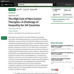 The High Cost of New Cancer Therapies—A Challenge of Inequality for All Countries