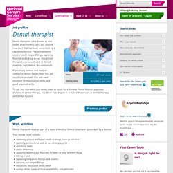 Dental therapist Job Information