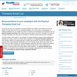 Physical Therapists Email List, Mailing Addresses and Database from Healthcare Marketers