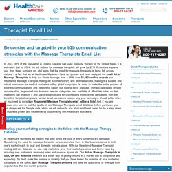 Massage Therapists Email List, Mailing Addresses and Database from Healthcare Marketers