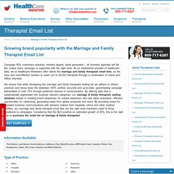 Marriage & Family Therapists Email List, Mailing Addresses and Database from Healthcare Marketers