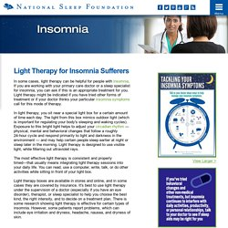 Light Therapy for Insomnia Sufferers - Insomnia