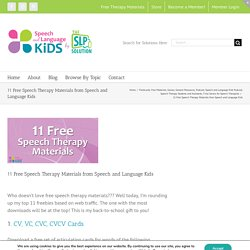 Speech And Language Kids - 11 Free Speech Therapy Materials from Speech and Language Kids