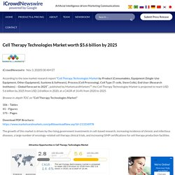 Cell Therapy Technologies Market worth $5.6 billion by 2025