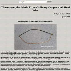 Thermocouples Made From Ordinary Copper and Steel Wire