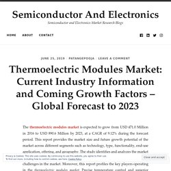 Thermoelectric Modules Market: Current Industry Information and Coming Growth Factors – Global Forecast to 2023
