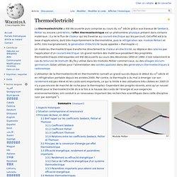 Thermoélectricité
