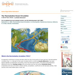 Thermohaline Circulation - Fact Sheet by Stefan Rahmstorf