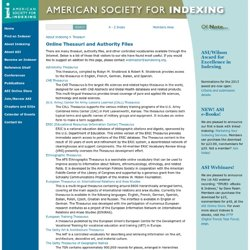 Online Thesauri and Authority Files - The American Society For Indexing