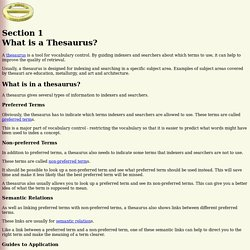 Thesaurus Construction - Section 1