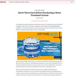 Know These Facts Before Purchasing a Water Treatment System