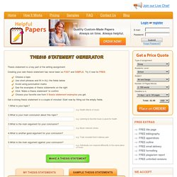 Free Thesis Statement Generator