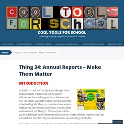 Thing 34: Annual Reports – Make Them Matter