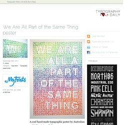 We Are All Part of the Same Thing poster