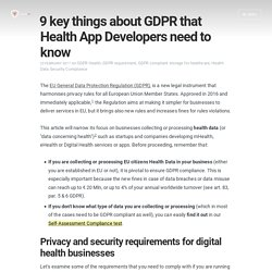 9 key things about GDPR that Health App Developers need to know