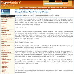 Things to Know About Thruster Device
