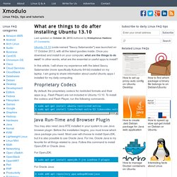 What are things to do after installing Ubuntu 13.10?