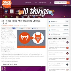10 Things To Do After Installing Ubuntu 15.10